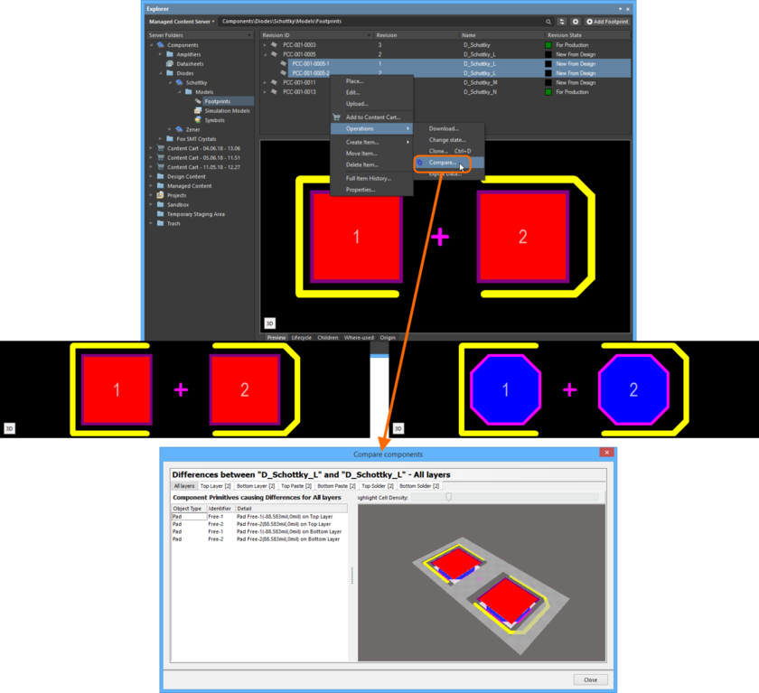Example comparison of two revisions of a Footprint Item. The source libraries are not opened in the workspace - previews of the footprints are included here (taken from the  Explorer panel) to show the differences that actually exist.