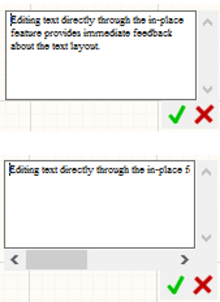 Example of in-place editing, with word wrapping enabled (top)  and disabled (bottom).