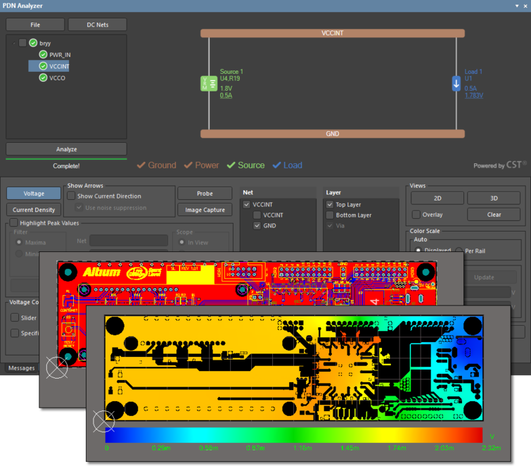The PDN Analyzer interface shown with the Altium Designer Spirit Level example PCB, and the results of a PI-DC Voltage Drop simulation of its Top layer GND net return for the VCCINT supply.