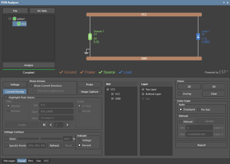 The PDN Analyzer panel interface showing a PI simulation setup for the basic circuit and board layout.