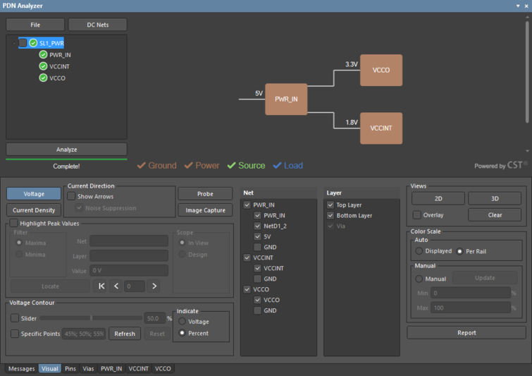 The PDN Analyzer GUI with the complete power net hierarchy selected. The display of the included networks and layers is controlled in the lower panel section.