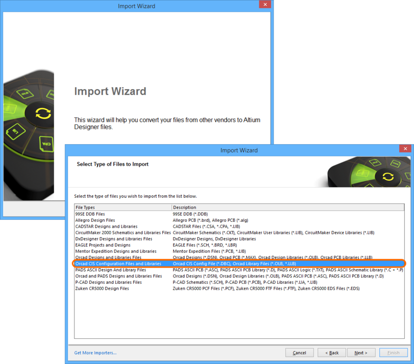 Use the Import Wizard to quickly translate your CIS Configuration file and related OrCAD libraries into Altium Designer DbLib and source library (SchLib and PcbLib) files.
