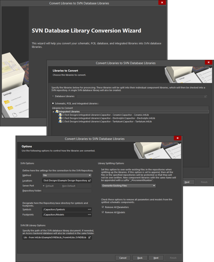 Bringing one or more source integrated libraries into the SVN database library structure is a streamlined process, using the SVN Database Library Conversion wizard.
