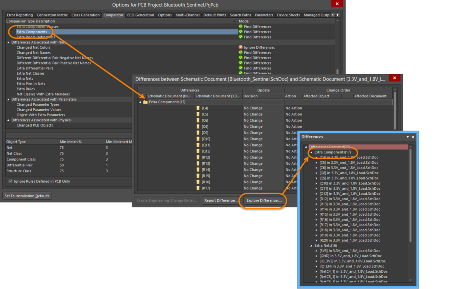 Set up how the differences are detected and reported in the Project Optionsdialog.