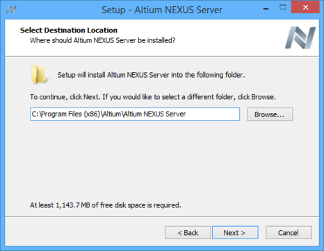 Determine install location for the Altium NEXUS Server.