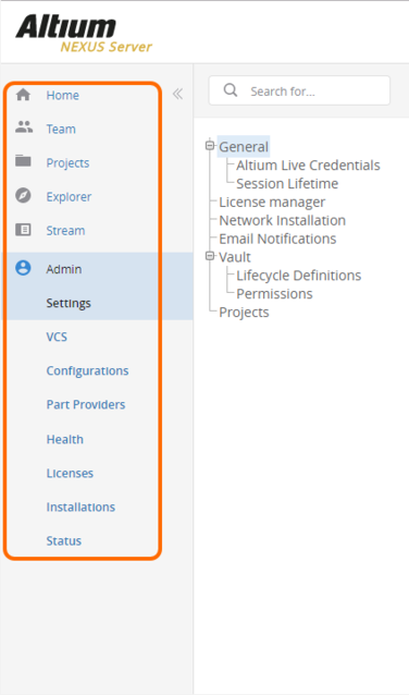 Once fully licensed, the full set of features become available on the navigation  tree of the NEXUS Server's browser-based interface.