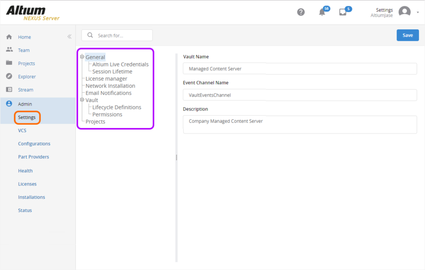 The Settings area - part of the admin-only pages within the NEXUS Server's browser-based interface.