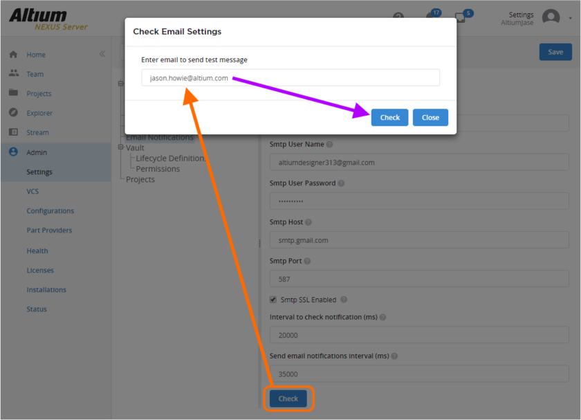 Checking the email notifications setup, by sending a test email to a target account. Hover over the image to see the successful result of the check.
