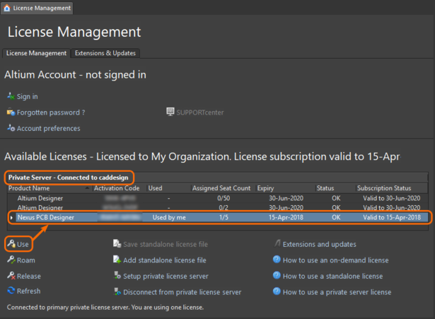 Private Licenses are made available when signing in to the server. Note that the software's internal Setup PLS option is not used.