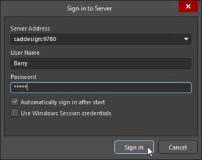 Signing in to server caddesign in Altium NEXUS.