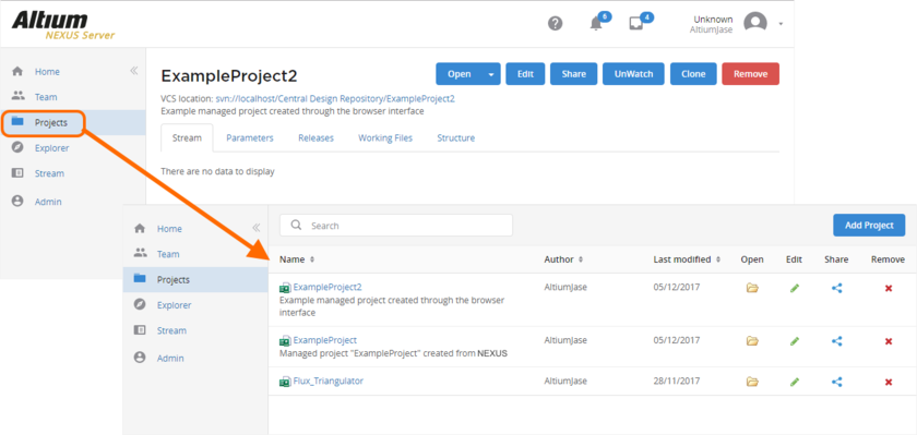 Additional Managed Project, created through the browser interface. Click the Projects entry in the nav tree to switch back from the detailed project view, to the summary-level view.