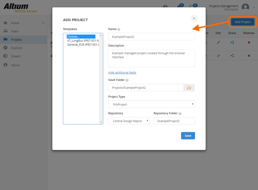 Defining a new Managed Project directly through the NEXUS Server's browser interface.