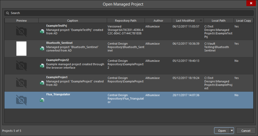Choose which managed project to open, from within Altium NEXUS, from those currently shared with you.