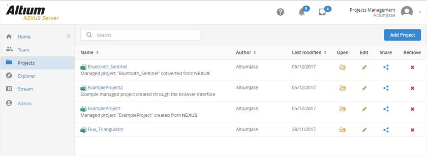 The Projects page of the NEXUS Server's browser interface - command central for managing your managed projects.
