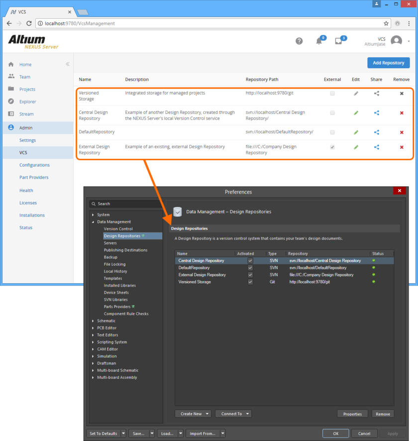 Centrally define access to your organization's Design Repositories. Repositories can be internal to the Altium NEXUS Server installation, defined using the local Version Control service, or external  through use of Altium NEXUS's built-in SVN, or third party SVN or Git service. Access control is performed through the VCS page of the Altium NEXUS Server's browser-based interface. When a user  signs in to the Altium NEXUS Server, the Design Repositories available to them will automatically be added to the Data Management - Design Repositories page of the Preferences dialog.