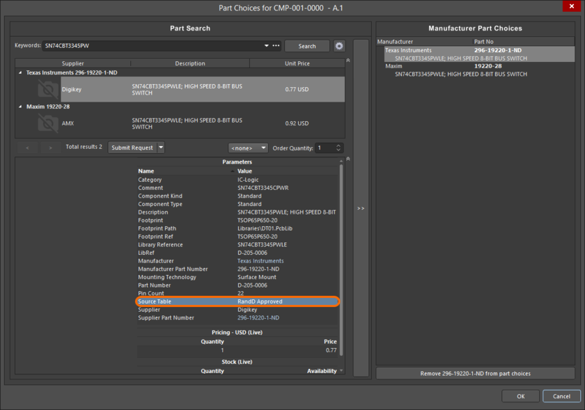 Manufacturer and supplier information sourced from a local Parts Database can be directly added to components in the NEXUS Server as a Parts Choice list.