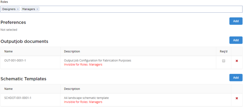 The configuration service will alert you to any data items that are not visible to an assigned role. In this case, users in the Designers role can see the two defined data items,  because those Item Revisions have been shared with that role. The Item Revisions have not been shared with the Managers role.