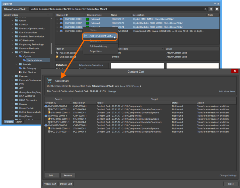 The Content Cart dialog - command central for acquiring data from a source server.