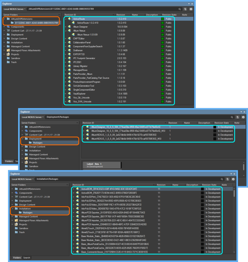 NIS-related entities, as seen in the local Altium NEXUS Server.