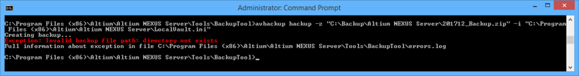 When backing up or restoring your NEXUS Server, details of any errors, as well as full path to the errors.log file, are presented directly in the CMD window.