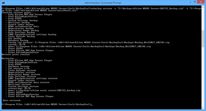 The result of running the example restore command. Notice that the tool creates a restore point first (a backup of the current Altium NEXUS Server installation), before performing the restore.