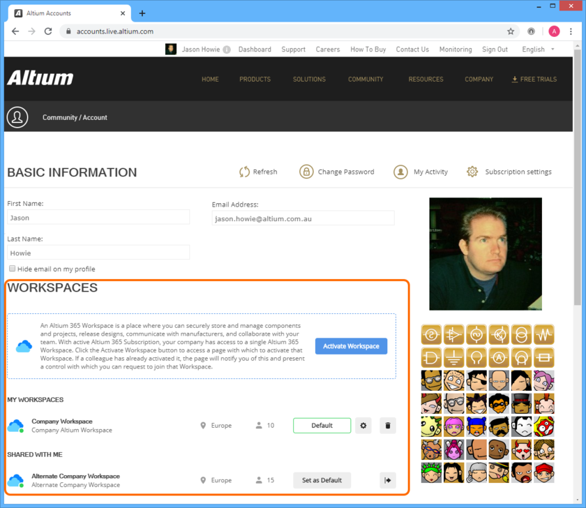 AltiumLive Profile ページでリスト表示された、定義済み Workspace の例。