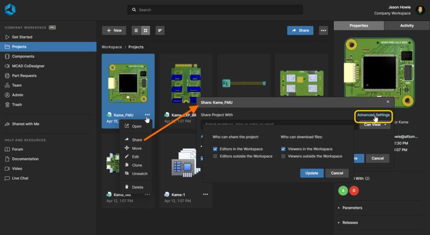 Расширенные настройки позволяют вам ограничить повторную публикацию и загрузку проектов и выгрузок. Здесь показаны доступные элементы управления для проекта. Наведите курсор мыши на изображение, чтобы увидеть элементы управления для выгрузки (которая находится в персональном пространстве).