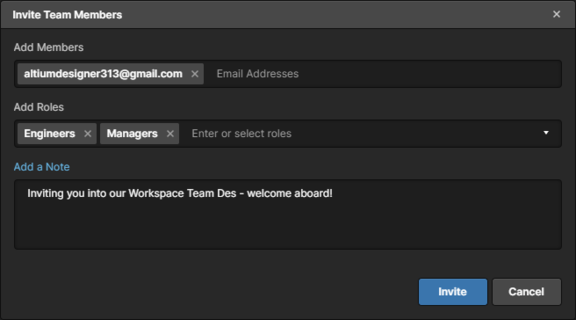 Пример списка пользователей, приглашаемых в Workspace.