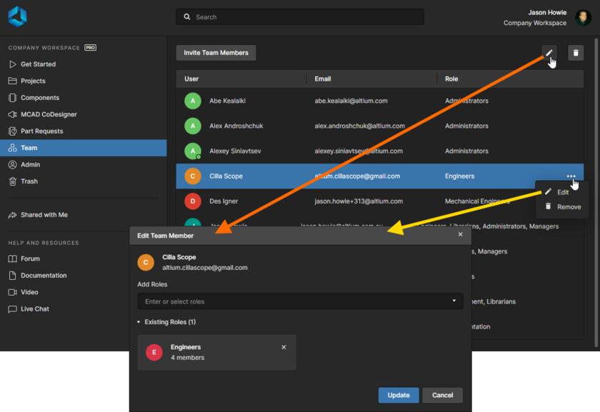 С планом подписки Pro, внесите необходимые изменения в принадлежность пользователя ролям.