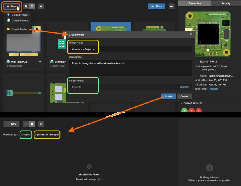 Пример создания новой папки (подпапки) для хранения проектов.