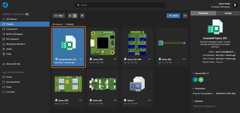 The newly-created project, evident back on the Projects page of the Workspace's browser interface.