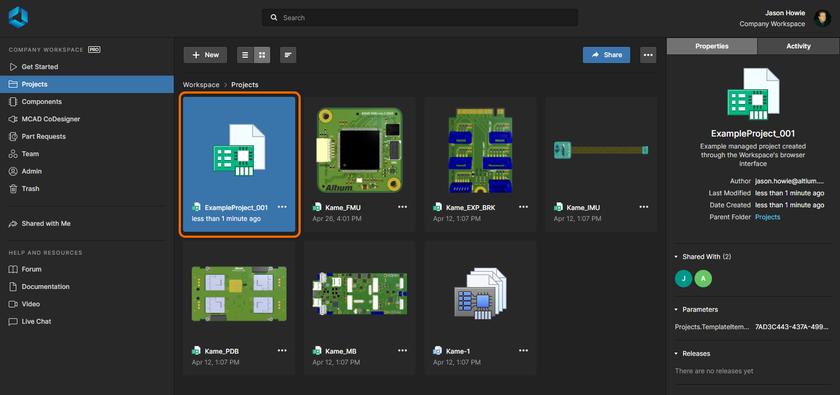 Новый проект, отображаемый на странице Projects веб-интерфейса Workspace.
