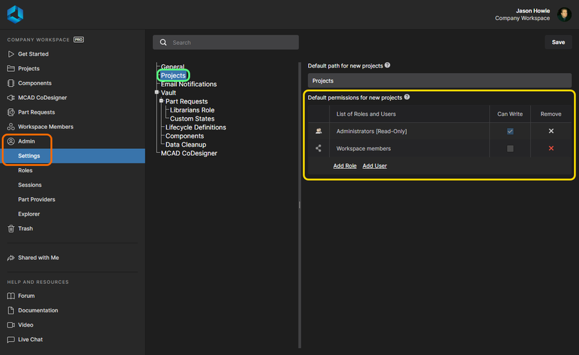 Manage the default permissions for new projects from the Admin area of the Workspace's browser interface.