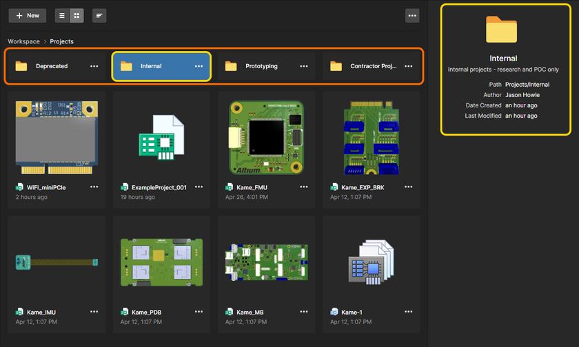 Пример подчиненных проектных папок, отображенных в графическом представлении страницы Projects по умолчанию. Наведите курсор мыши на изображение, чтобы увидеть папки в представлении списком.