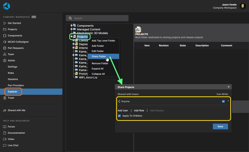 Помните, что папка Projects доступна на редактирование всем участникам команды. Измените доступ к ней и ко всем создаваемым в ней папкам нужным образом.