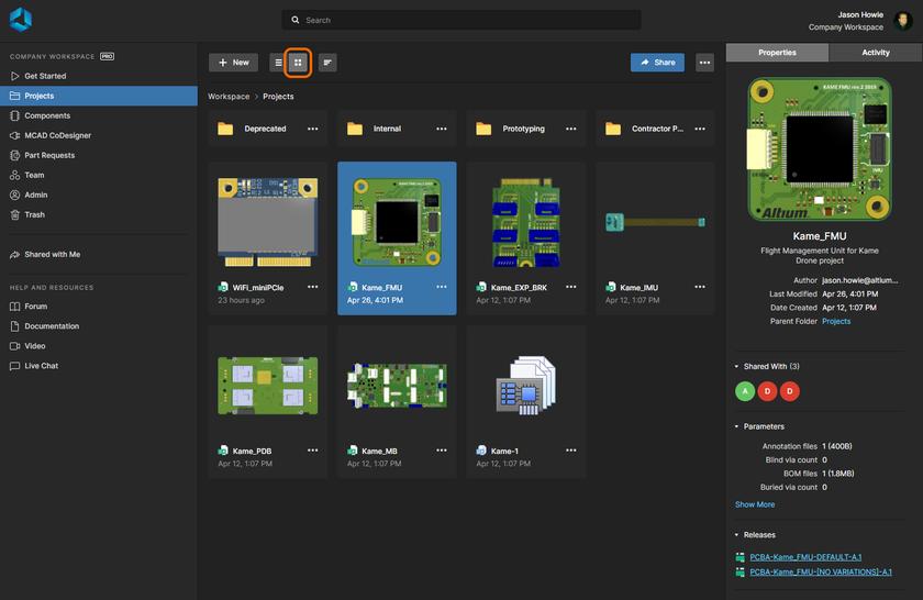 Страница Projects веб-интерфейса Workspace – центр управления работой с управляемыми проектами. Здесь показано графическое представление страницы. Наведите курсор мыши на изображение, чтобы увидеть представление списка.