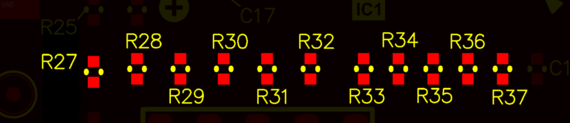 A series of resistors that have been positionally re-annotated. Note that R27 has remained in the annotation sequence even though it is lower that the other resistors.