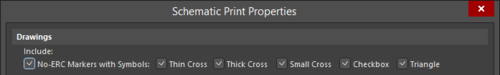 Control the printing of No ERC markers in the Schematic Print Properties dialog.