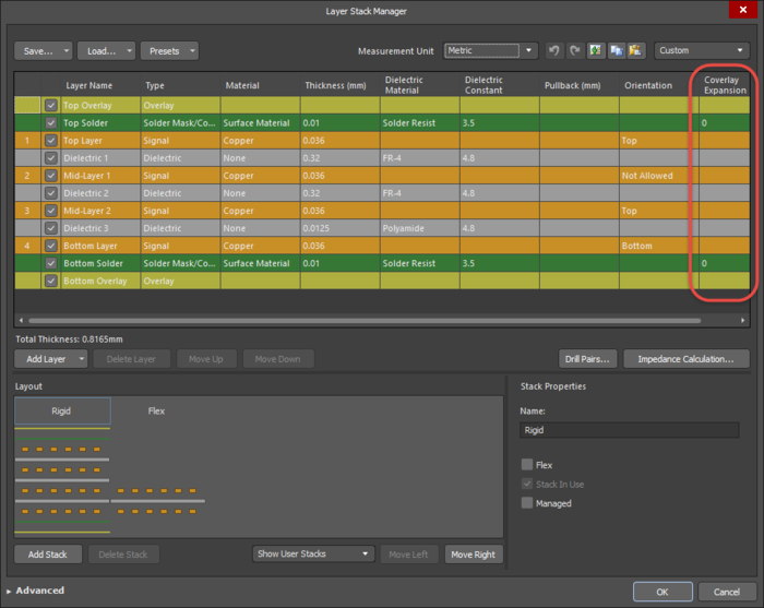 Add the coverlay layers into the required stack and configure the layer properties in the Layer Stack Manager.