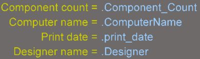 Examples of design, system, and design parameter special stringsshown as source strings on the left and converted on the right.