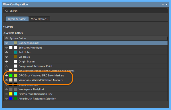 Configure the color of the Error and Markers in the View Configurationpanel.
