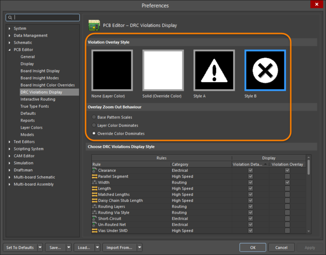 Configure the Overlay Style and how Error Markers are displayed.