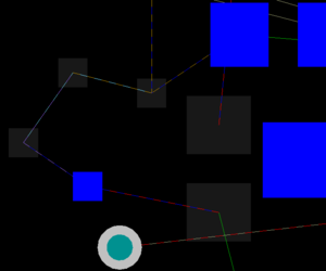 An example of connection lines that connect between different layers in a multi-layer boardin single layer mode.