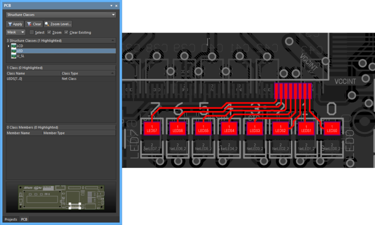 All Classes within the LED Class are filtered in the workspace when the Structure Class is selected in the panel.