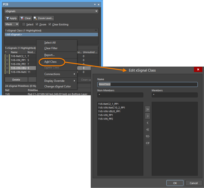 Create or add to an xSignal class by adding/removing xSignal members using the Edit xSignal Class dialog.
