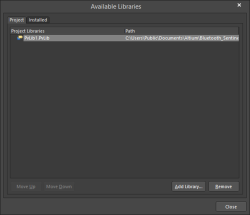 Install an external Pad Via Libraryor use the Project tab to add an existing library to the current project.