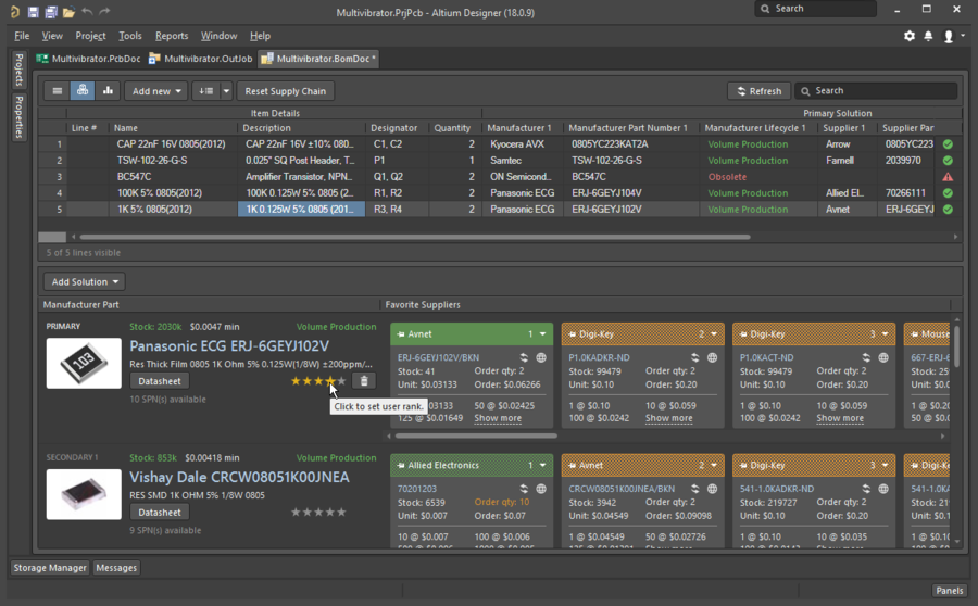 ActiveBOM is used to map each design component to a real-world part.