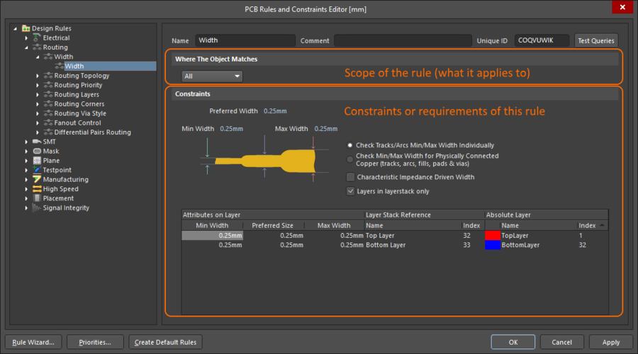 The default Routing Width design rule has been configured.
