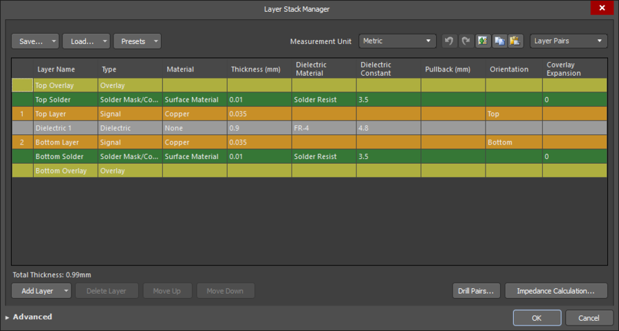 The properties of the physical layers are defined in the Layer Stack Manager.