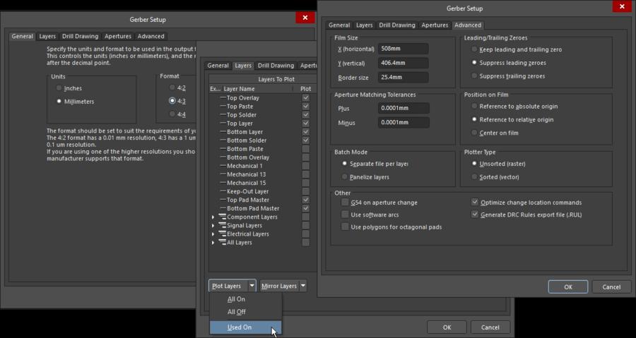 Configure the Gerber outputs in the Gerber Setup dialog.